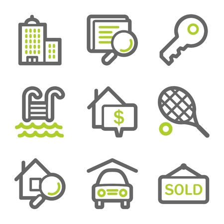 Real estate web icons, green and gray contour series Vector