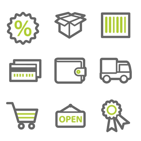 Shopping web icons set 2, green and gray contour series Vector