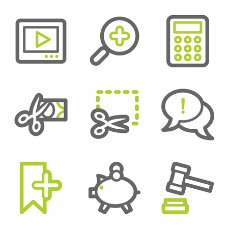 Shopping web icons set 3, green and gray contour series Vector