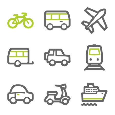 Transport web icons, green and gray contour series Vector