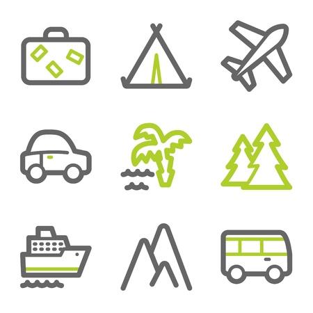 steamship: Reis web pictogrammen set 1, groen en grijs contour serie Stock Illustratie