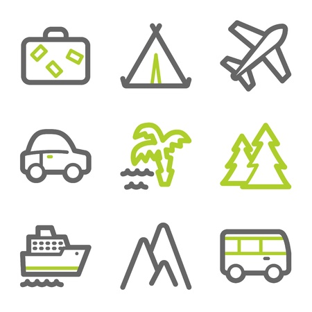 Travel web icons set 1, green and gray contour series Vector