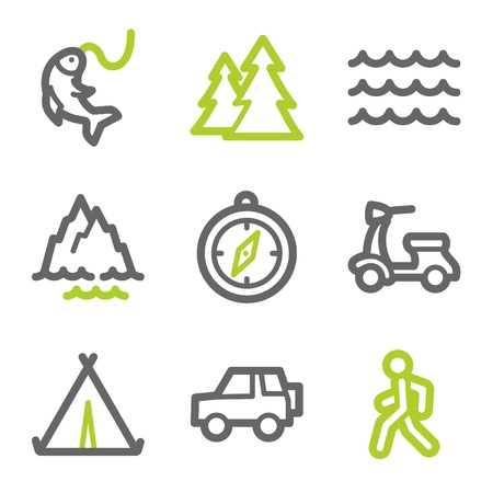 Travel web icons set 3, green and gray contour series Vector