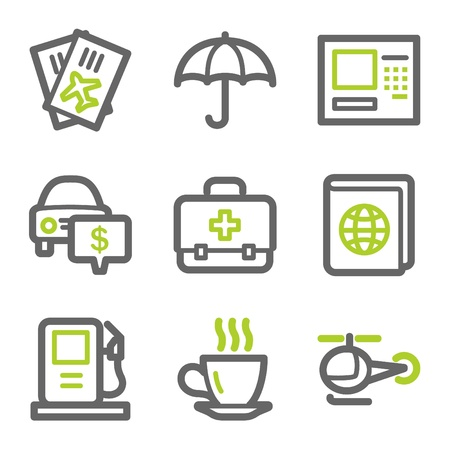 Travel web icons set 4, green and gray contour series Vector