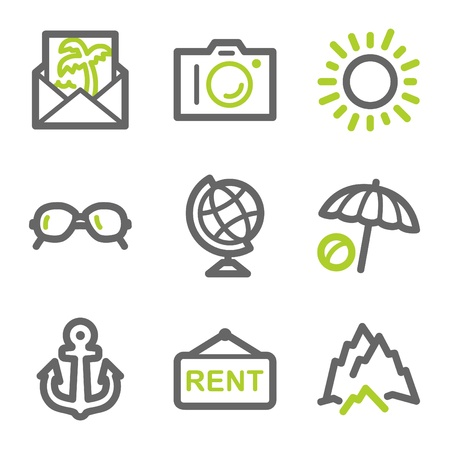 photo icons: Travel web icons set 5, green and gray contour series Illustration