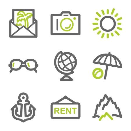 icona busta: Viaggi web icons set 5, verde e grigio serie contorno Vettoriali