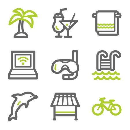 Vacation web icons, green and gray contour series Vector