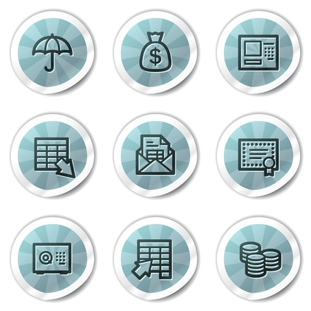 Banking web icons, blue shine stickers series Vector