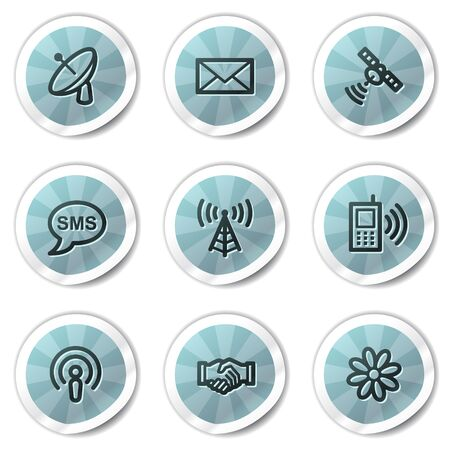 access point: Communication web icons, blue shine stickers series Illustration