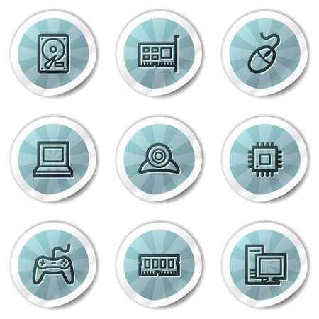 Computer web icons, blue shine stickers series Vector