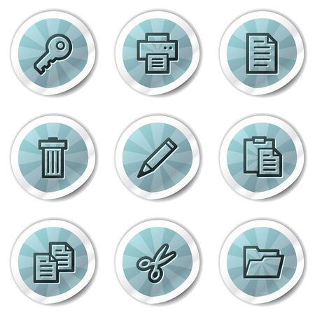 Document web icons set 1, blue shine stickers series Vector