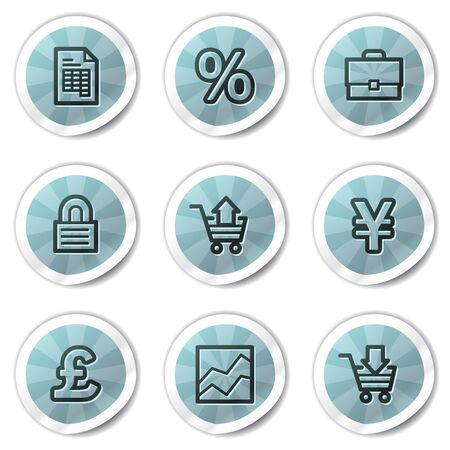 E-business web icons, blue shine stickers series Vector