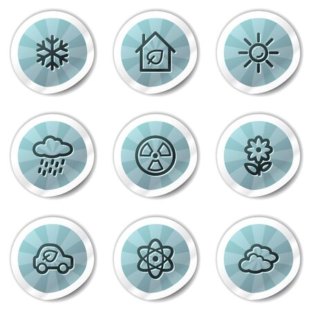 Ecology web icons set 2, blue shine stickers series Vector