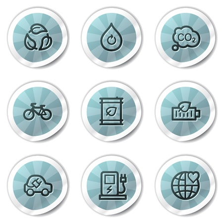 electro world: Ecology web icons set 4, blue shine stickers series