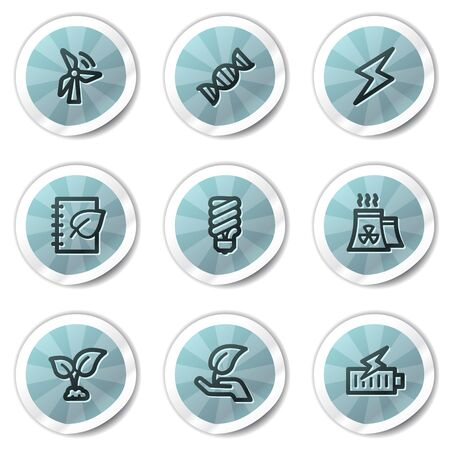 Ecology web icons set 5, blue shine stickers series Vector