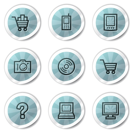 Electronics web icons set 1, blue shine stickers series Stock Vector - 8500132