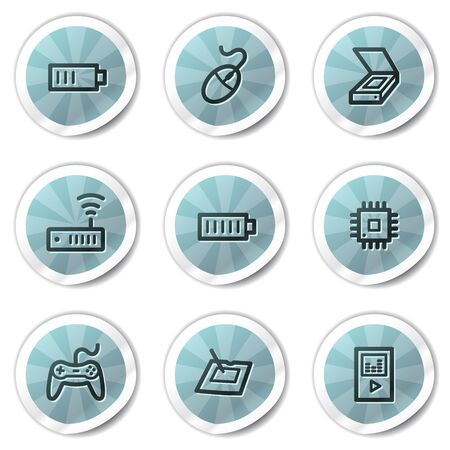Electronics web icons set 2, blue shine stickers series Stock Vector - 8500168