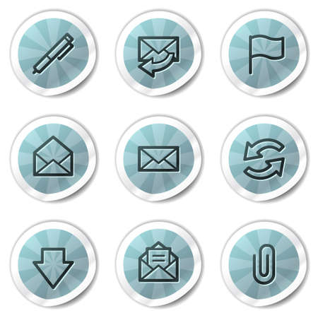 E-mail web icons, blue shine stickers series Stock Vector - 8500125
