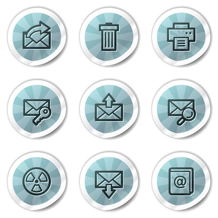 E-mail web icons set 2, blue shine stickers series Vector