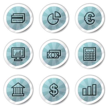 Finance web icons set 1, blue shine stickers series Иллюстрация