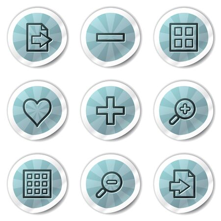 Image viewer web icons set 1, blue shine stickers series Vector