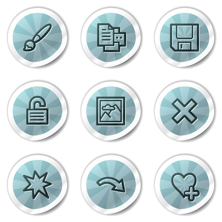 Image viewer web icons set 2, blue shine stickers series Vector