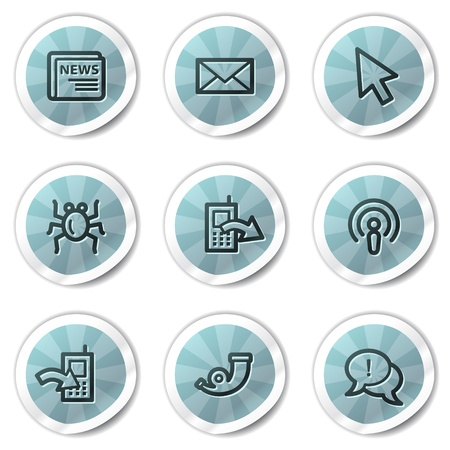 Internet web icons set 2, blue shine stickers series Stock Vector - 8500159