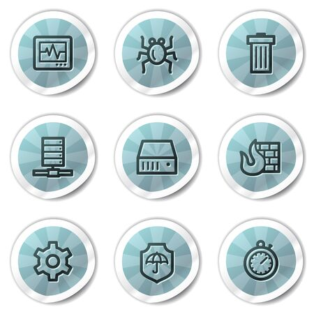 Internet security web icons, blue shine stickers series Vector