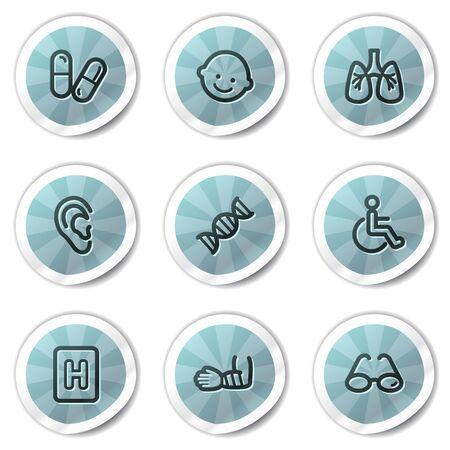 Medicine web icons set 2, blue shine stickers series Vector