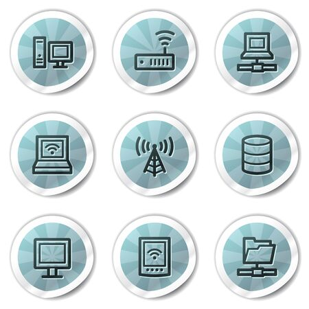 Network web icons, blue shine stickers series Stock Vector - 8500139