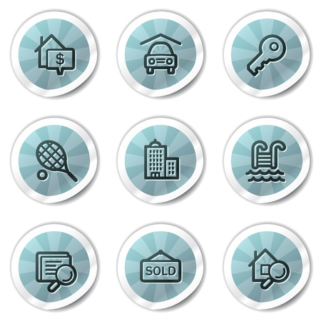 Real estate web icons, blue shine stickers series Stock Vector - 8500193