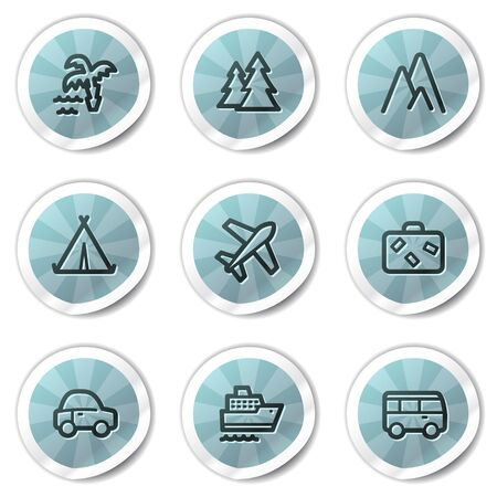 air liner: Travel web icons set 1, blue shine stickers series Illustration