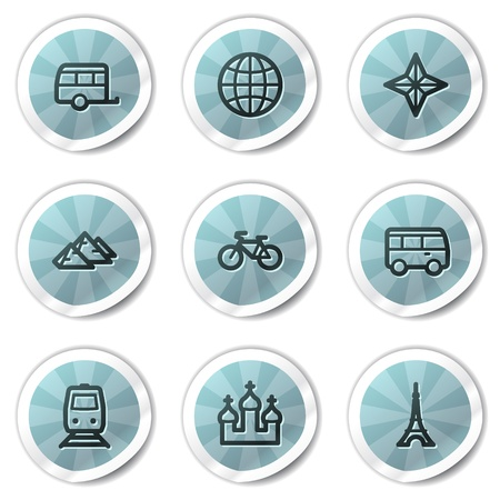 Travel web icons set 2, blue shine stickers series Vector