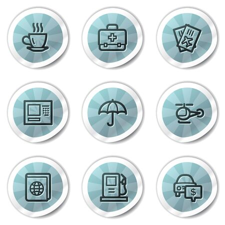 Travel web icons set 4, blue shine stickers series Vector