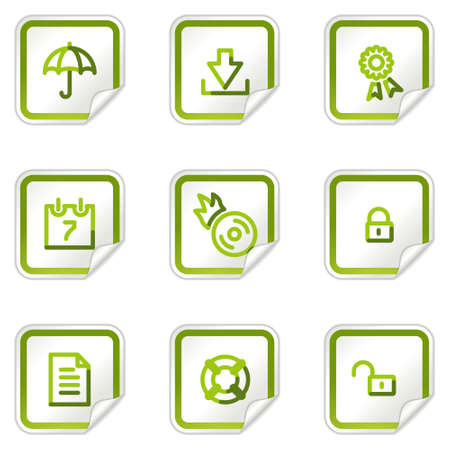 lock up: Data security web icons, green stickers series Illustration