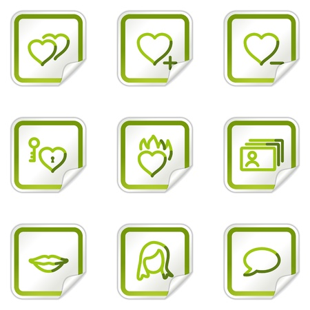 Dating web icons, green stickers series Vector