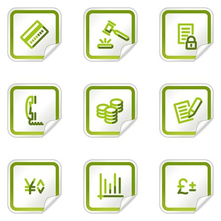 E-business web icons, green stickers series Stock Vector - 8500162