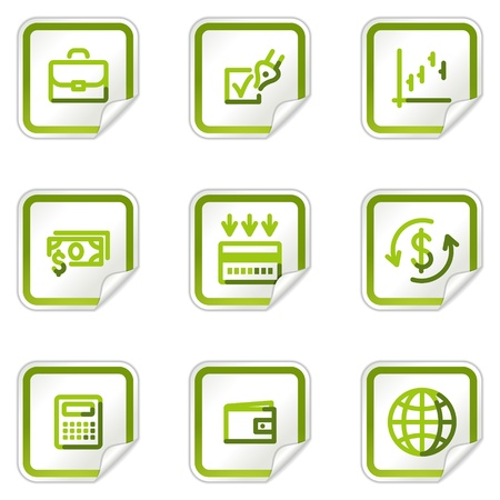 Finance web icons, green stickers series Stock Vector - 8500239
