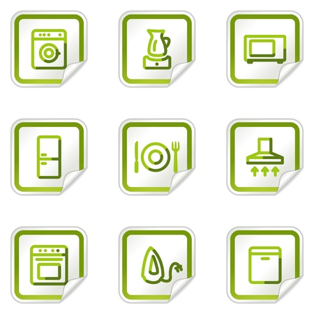 Home appliances web icons, green stickers series Stock Vector - 8500222