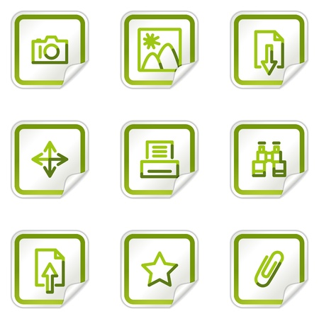 Image library web icons, green stickers series Stock Vector - 8500212