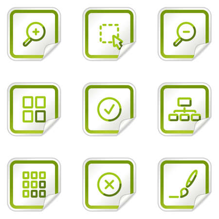 preview: Image viewer web icons, green stickers series Illustration