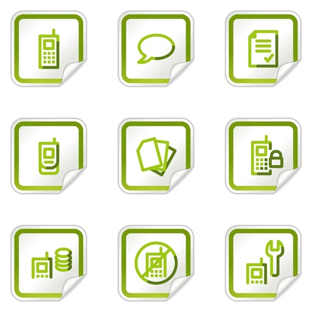 calc: Mobile phone web icons set 2, green stickers series