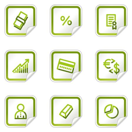 Money web icons, green stickers series Stock Vector - 8500207