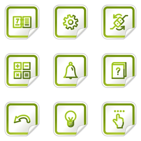 Organizer web icons, green stickers series Vector