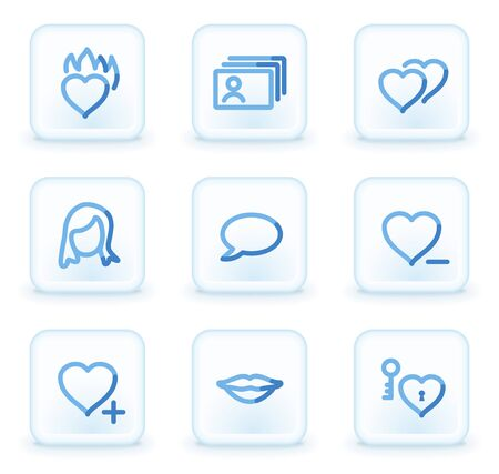 dating icons: Dating  icons,  square ice buttons Illustration