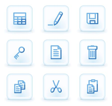 Document icons set 1,  square ice buttons Vector