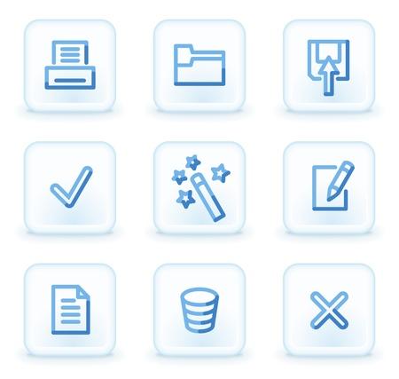Document icons set 2,  square ice buttons Vector