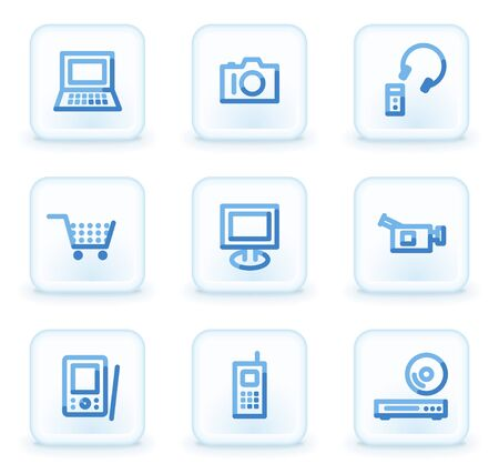 electronics icons: Electronics icons,  square ice buttons Illustration