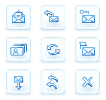 E-mail icons set 1,  square ice buttons Vector