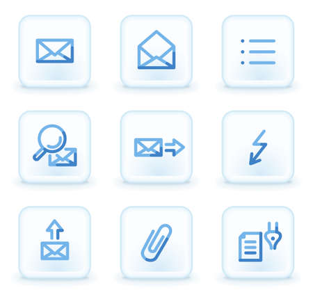 E-mail icons set 2,  square ice buttons Vector